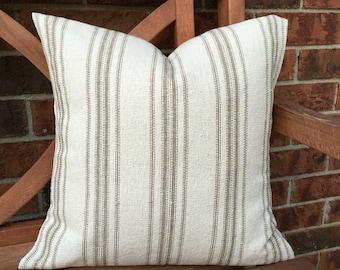 Grain Sack Pillow Cover Tan Stripes
