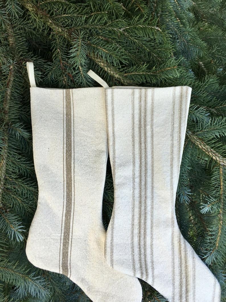 Grain Sack Stocking Tan Stripes image 3