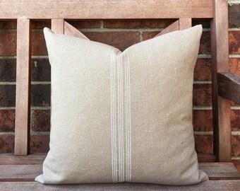 Grain Sack Pillow Cover White Stripe