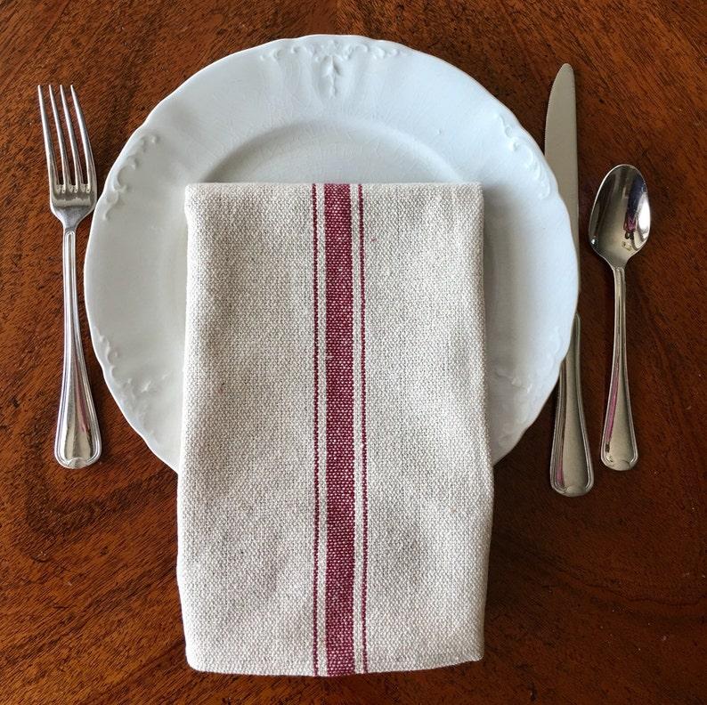 Grain Sack Dinner Napkin Red Stripes - very French farmhouse chic! #frenchfarmhouse #tablescape #grainsack #napkins #grainsackstripe