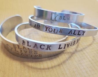 Black Lives Matter, Min BLM, Minnesota Black Lives Matter, I Am YOUR Ally Adjustable Cuff Bracelets, Advocate, BIPOC, Strong, Together, Love