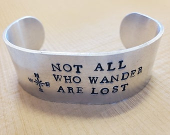 Not All Who Wander Are Lost Adjustable Cuff Bracelet, Compass, Cardinal Directions, Traveling, Wanderlust, Great Gift Idea, MN Made sku 267