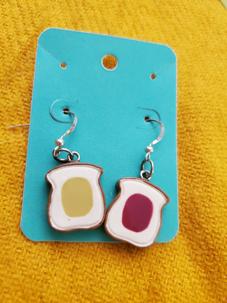 Peanut Butter Jelly Time Earrings Jam Tomorrow Jam Yesterday Pb /&J Quirky Fun Great Gift Jif or Skippy Crunchy or Creamy White Bread Wonder