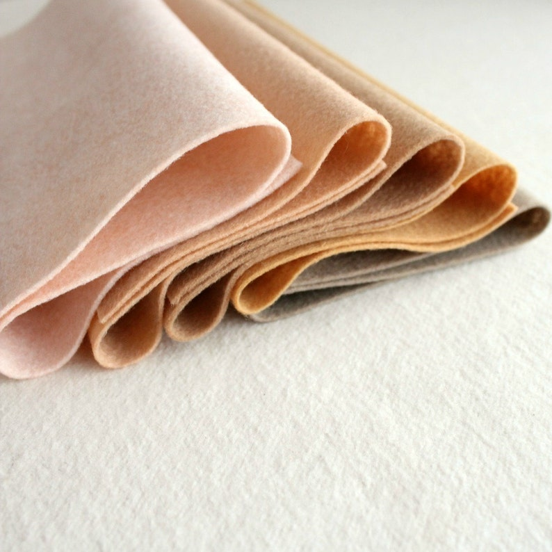 Skin Tones Merino Wool Blend Felt  5 9x12 Sheets image 0