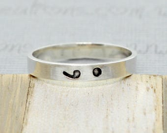 Sterling Silver Semicolon Ring Semi Colon Jewelry Hand Stamped Ring Stackable Ring Stacking Rings, Punctuation Ring, Unisex Christmas gifts