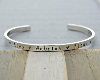 Sterling Silver Cuff Bracelet Personalized Cuff Bracelet with Childrens Names Jewelry for Mom Stacking Bracelet with Quote Cuff Bracelet