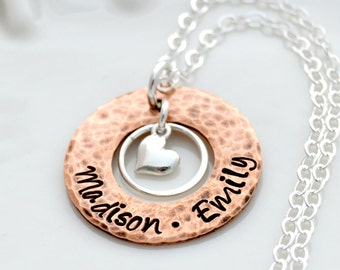 Hand Stamped Necklace, Personalized Jewelry, Copper Washer Necklace, Hand Stamped Jewelry, Personalized Mommy Necklace, Mothers Day Gift