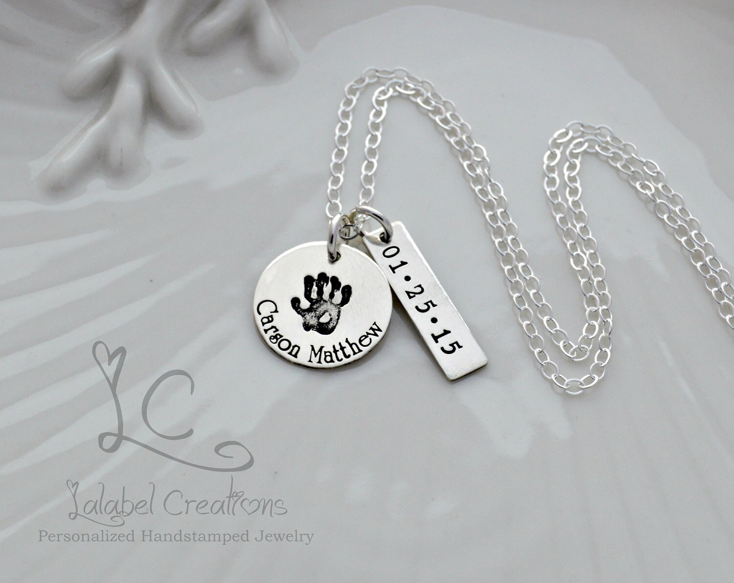 Sterling Silver Baby Name Necklace Birth Date Necklace Etsy