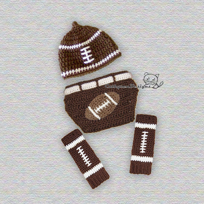 7a7e2eb1f Baby Football Hat, Diaper Cover and Leg Warmers - INSTANT DOWNLOAD Crochet  Pattern