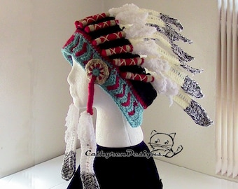 Indian Headdress, 3 sizes Child-Adult, INSTANT DOWNLOAD Crochet Pattern