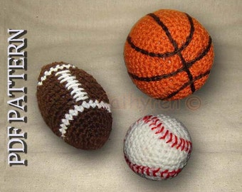 Toy Football, Basketball, and Baseball - INSTANT DOWNLOAD Crochet Pattern