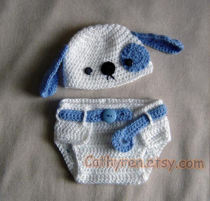 c1a95ba9a Baby Puppy Hat and Diaper Cover Set, Photo prop - INSTANT DOWNLOAD Crochet  e-Pattern