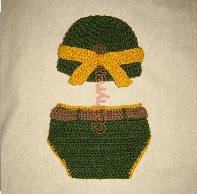 1f1f6713a Baby NinJa Turtle Hat and Diaper Cover Set, Photo prop - INSTANT DOWNLOAD  Crochet e-Pattern