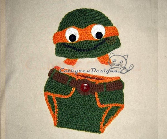 Baby Ninja Turtle Hat And Diaper Cover Set Photo Prop Etsy