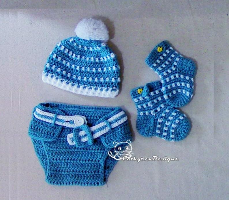 b7b2aa60e Baby Hat, Diaper Cover, Socks/Booties Set, Photo prop - INSTANT DOWNLOAD  Crochet Pattern