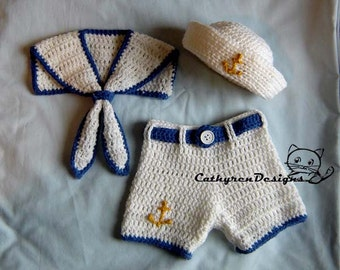 Baby Sailor Hat, Collar and Shorts/Diaper Cover Set, Buttons at Legs for Easy Change- INSTANT DOWNLOAD Crochet Pattern