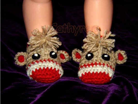 Baby Sock Monkey Booties Instant Download Crochet Pattern Etsy