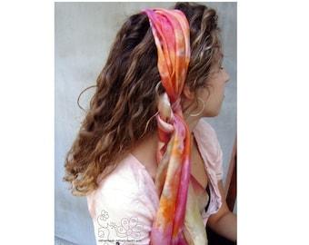 Pastel silk scarf for hair, Long pastel scarf for hair,  silk scarf for women, hand paintes scarf, pastel bridal wrap shawl, custom scarf