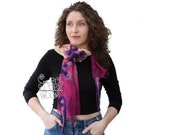 Pink nuno felt long scarf silk fashion ombre floral