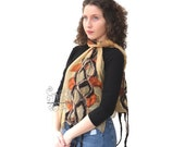 Mustard nuno felt long scarf silk with bohemian fringes