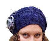 Blue crochet beret beanie, womens slouchy hat