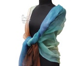 Colorful silk scarf, ombr...