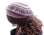 Brown hand knit beret hat...