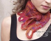 Felt neckwarmer scarf Orange Fox merino with bohemian fringes
