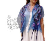 Blue nuno felt long scarf for women. Floral silk scarf with bohemian fringes
