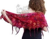 Red nuno felt scarf with bohemian fringes, luxury gift for wife