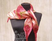 Floral nuno felted scarf square Coral