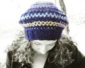 Blue beret hat women, Blue crochet beret, Blue wool hat women, Slouchy beanie hat women, Blue spring beret hat