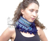 Blue infinity scarf, Blue knit scarf, Blue crochet infinity, Infinity scarf with bohemian fringes