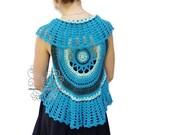 Blue boho lace crochet ma...