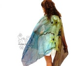 Floral colorful felt long scarf silk wrap blue green shades