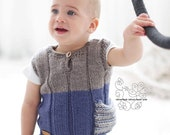 Knit baby boy vest, Hand knitted wool vest, Kids wool west with pocket