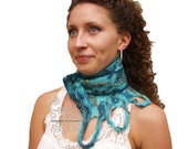 Blue felt long scarf warm Teal neckwarmer with bohemian fringes