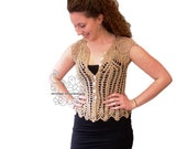 Beige crocheted lace blou...