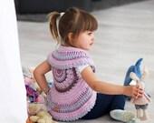 Baby girl bolero vest, Pastel pink baby vest, Pink mandala vest girl, Pastel baby girl wool bolero, girl knit wear