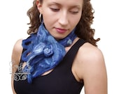 Blue felt neckwarmer warm scarf with bohemian fringes