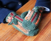 Green and rainbow mittens in boho style, wool gloves mittens, wool armwarmers, crochet fingerless mittens