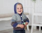 Chunky hand crochet baby boy sweater, chunky knit hoodie jacket baby boy, blue brown boy hoodie sweater