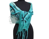 Green nuno felt scarf. Long silk scarf for women with bohemian fringes. Gift for wife
