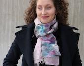 Pastel nuno felt scarf, Pink nuno felt scarf,  luxury nuno felt scarf, nuno felt fashion, art luxury scarf, unique art gift