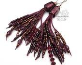 Plum bohemian fringes earrings long tassel