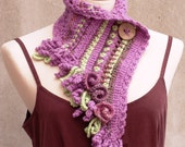 Pink crochet scarf freeform knit neckwarmer with bohemian fringes
