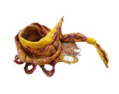 Mustard chunky felt scarf, Mustard felt long scarf in boho style made of merino wool