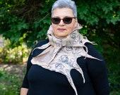 Beige nuno felt scarf, Beige long nuno felt scarf, Beige fringes nuno felt scarf, nuno felt scarf for women, nuno felt wrap scarf