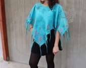 Nuno felt poncho, Turquoise women poncho, Floral nuno felted poncho, fringes silk wrap, Bohemian clothing for women