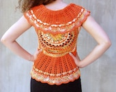 Orange mandala crochet bo...
